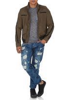Cutty - Biker Style Jacket Mid Brown