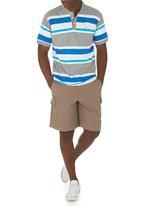 JEEP - Short Sleeve Yarn Dye Golfer Grey Mid Grey