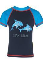 Hooligans - Boys Shark Rash Vest Dark Blue