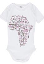 Home Grown Africa - Africa Print Babygrow White