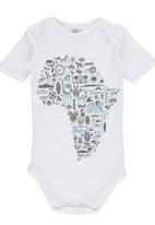 Home Grown Africa - Africa Print Babygrow White