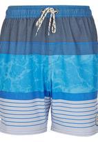 Billabong  - Variegated Stripe Boardie Blue and White