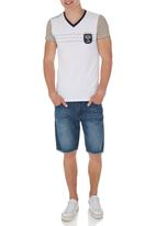 SOVIET - V-Neck Tee With Contrast Sleeves White