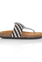 Rock & Co. - Striped Sandal Black and White