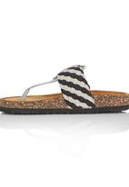 Rock & Co. - Striped Sandal Black and White