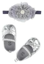 Tyttöni - Metalic Headband & Shoe Set Silver