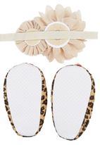 Tyttöni - Leopard Headband & Shoe Set Multi-colour