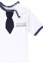 Poogy Bear - Neck Tie Babygrow Navy