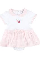 London Hub - Gingham Romper Dress Pale Pink