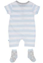 London Hub - Romper & Socks Set Blue and Grey