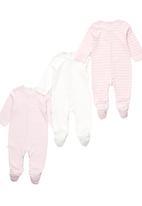London Hub - 3 Pack Sleepsuit Pale Pink