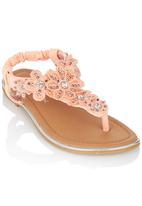 Footwork - Embelished Flower Sandal Orange