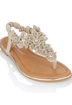 Footwork - Embelished Flower Sandal Cream