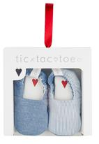 Tic Tac Toe - Pinstripe Fabric Loafers Pale Blue