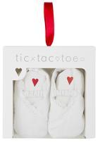 Tic Tac Toe - Elasticated Strap Fabric Shoes White