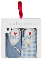 Tic Tac Toe - Elasticated Strap Fabric Shoes Mid Blue