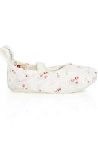 Tic Tac Toe - Floral Fabric Mary-Janes White