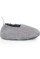 Tic Tac Toe - Pinstripe Fabric Loafers Dark Grey