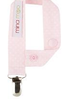 Mina Moo - Baby pink polka dot dummy clip Dark Pink