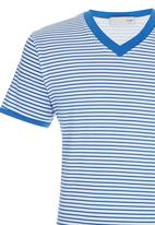 POP CANDY - Stripe V-neck T-shirt Mid Blue