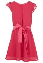 See-Saw - Party Dress With Flower Bow Dark Pink