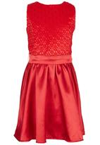 See-Saw - Mesh Combination Dress Red