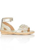 Brats - Metallic Sandal with Flower Detail Gold