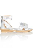 Brats - Metallic Sandal with Flower Detail Silver