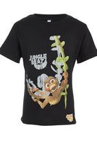 Jungle Beat - Monkey Print T-Shirt Black