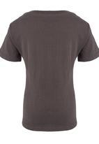 Jungle Beat - Penguin Print  T-Shirt Dark Grey