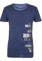 GUESS - S/S Ritual  Union  V-Neck  Gunner Tee Dark Blue