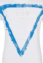 GUESS - S/S Guess  Branded Logo Tee White