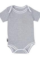 Sticky Hands - Short Sleeve Sleep Babygrow Grey Melange