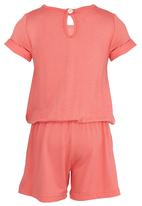 See-Saw - Jersey Playsuit with Lace Detail Coral