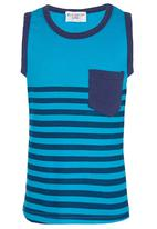 POP CANDY - Blue Stripe Vest Mid Blue