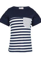 POP CANDY - Stripe Tee Blue and White