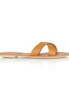 edit - Leather Cross- over Sandals Camel/Tan