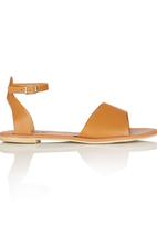 edit - Leather Ankle Strap Sandals Camel/Tan