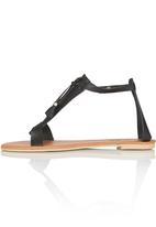 edit - Leather Sandals with Tassel Black