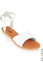 edit - Leather Ankle Strap Sandals White