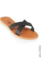 edit - Leather Cross- over Sandals Black