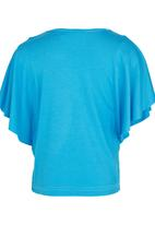 See-Saw - Butterfly Sleeve Top Turquoise