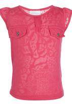 See-Saw - Flutter Sleeve Top Dark Pink