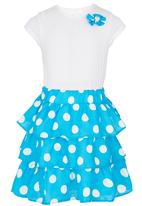 See-Saw - Tiered Skirt Dress Mid Blue