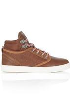 SOVIET - Hi Top PU Sneaker Dark Brown