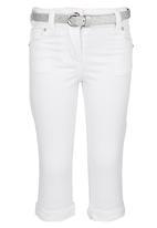 POP CANDY - Capri Denim With Silver Belt White