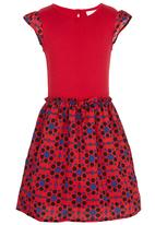 See-Saw - Combination Fabric Dress Red
