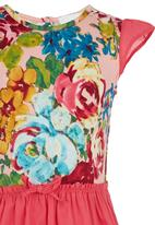 See-Saw - Combination Fabric Dress Mid Pink