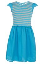 See-Saw - Combination Fabric Dress Mid Blue