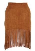 c(inch) - Suedette Tassel Tube Skirt Tan